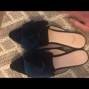 J Crew Peacock Blue Bow Mules